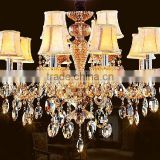 Modern fabric lampshade decorative villa luxury crystal chandlier
