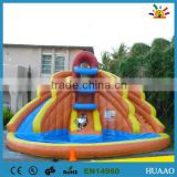 2015 giant floating inflatable pool slide with climbing wall