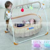 Manufacturer Electric Foldable baby Crib Rocking Bed ,swing baby bed with remote control and mosquito net