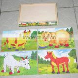 Hot selling educational wooden toys wooden puzzle, sheep pig cow horse animal in wooden box