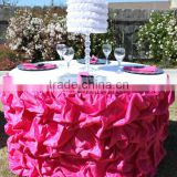 luxurious satin table skirting designs for wedding,gathered table skirts,ruffled table cloth                                                                         Quality Choice