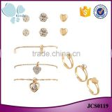 Yiwu wholesale cheap price gold plated zinc alloy rhinestone 9 pieces necklace set jewelry