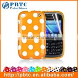 Set Screen Protector And Case For Blackberry 9320 , Polka Dots Gel TPU Case For Cell Phone