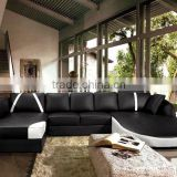 U shaped living room leather sofa black sectional sofa
