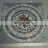 Chinese mix color slate round circle natural decorative stone mosaic floor pattern medallion floor tiles