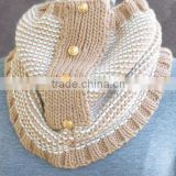 Fashion Soft Chunky Acrylic Knitted Stripe Women's Cowl Round Scarf Neck Warmer