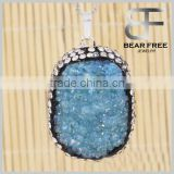 Exaggeration Irregular Natural Drusy Necklace Pendant for DIY Jewelry Agate Stone Pendant