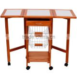 2015 cheap wooden kitchen trolley with basket, can be folding