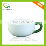 Solid color ceramic tea cup with color of white&red