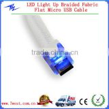 OEM LED Light Up Braided Fabric Flat Micro USB Cable with Blue LED Lighted Head Cable