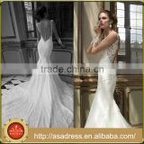 AR04 Morden Style Long Train High Quality Lace See Through Neck Illusion Back Wedding Dress Mermaid Plus Size                                                                         Quality Choice