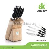 "Pro "" S "" Knife 6-piece Set with Oak Wood 5-Slot Mobile Knife Block                                                                         Quality Choice"