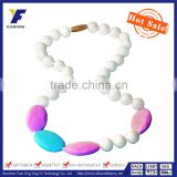 Fashion Latest Design Beaded Necklace Wholesale/Safe Silicone Teether Beads Necklace For Baby