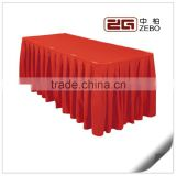 100% Polyester Plain Fabric Pleated Style Wholesale Banquet Table Skirts