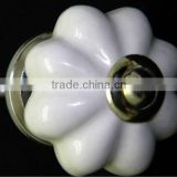 Ceramic Drawer Pull Knobs with Metal Fittings - Plain Off White