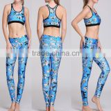 Tooqiz Sublimation Printed women's sport yoga bra and leggings