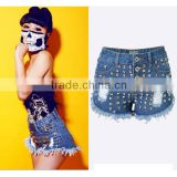 2016 Summer Women High Waist Hot Pants Ladies Decorated Metal Rivet Tassel Fringe Sexy Mini Ripped New Style Fashion Girls Jeans