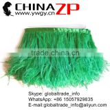 CHINAZP Hot Sale Feather Size 6-8 Inch Strip Two Ply Dyed Bulk Grass Green Ostrich Fringe Trim Feathers on Ribbons