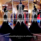Real photos customize Rhinestone Sleeveless beading sparkly mermaid black Prom Dresses CWFp2315 Image