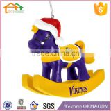 Factory Custom made best christmas decoration gift resin polyresin rocking horse ornament