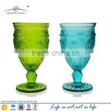 Sun Flower Green blue colored Glass Stemmed Goblets dinnerware Set of 6 Base Clear Glass