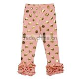 Knit Cotton Baby kids Pants with gold polk dots solid Children Girls icing Leggings Triple Baby icing Ruffle