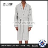 Custom Design Kimono 100% Cotton Men Bathrobe Contrast Piping V-neck Robe Pajamas With Embroidered Brand Logo At Chest