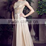 2016 Elegant Prom Dresses Scoop A Line Floor Length Beaded Tulle Bodice With Chiffon Skirt