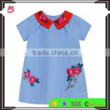 2017 new style cutsom summer children baby girls cotton poplin dress shirt with embroidery
