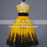 New Arrival Lovely Princess Gold Flower Girls Dresses HMY-GPD003 Latest Design One Piece Girls Party Dress
