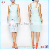 Sky-blue new fashion pretty pregnant women fashion maternity scuba bodycon formal dress clothes with large bloom print