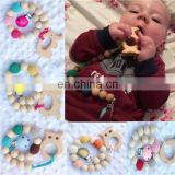 Teether Rings Baby Teething Toys BPA Free Wooden Infant Newborn Teether