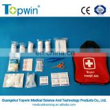 FAK61122 OEM portable hot sale first aid kit with first aid mouth to mouth,PBT bandage,forceps and scissors