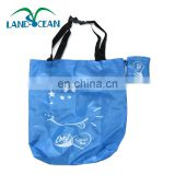 Factory cheap custom 190T polyester blue folding shopping bag