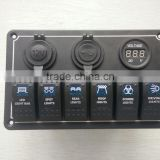 New type!!!6 Gang Blue LED Car Boat Marine Rocker Switch Panel 2 port USB Socket with power socket with Voltmeter socket