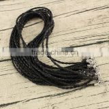 BC1158 Wholesale fashion DIY black braided plaited leather cord necklace chains