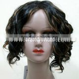 Cheap black short hair wavy wigs for women