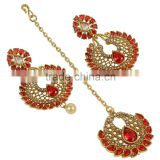 Indian Tradtional Style Fabulous Gold Plated Stud Crystal Polki Earrings with Maangtikka Jewelry