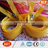 high quality delrin double head zipper, cupronickel thumb puller zipper