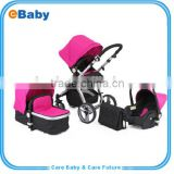 Aluminum Frame Baby Stroller 3 in 1,Pushchair+Sleeping Basket+Car Seat