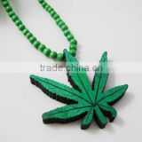 Green Wooden Marijuana Leaf Pendant with a 36 Inch Beaded Necklace Chain Good Quality Wood