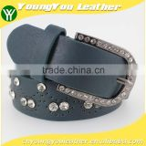 Women's Fashion rhinestone studded 35Mm pu leather jeans belt with shiny rhinestone accessories