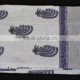 "Kantha Stitch Gudri Pure Cotton Quilt Floral White Bed Spread Throw 108"" X 90"""