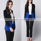 Womens Color Block Fitted Boyfriend Blazer Suit Tuxedo OEM Type Clothes Factory Manufacturer Guangzhou
