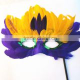 Fashion multi color feather party cosplay duck feather mask