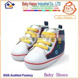 wholesale color block denim canvas sneaker baby shoes