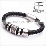 Fashion Stainless steel real leather Infinity bracelet Men Holiday Hand Chains Jewelry Accessories