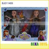 set of 2 famous frozen princess with beautiful fox comb