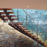Frameless Glass Railings curved staircase /double stringer wood stairs
