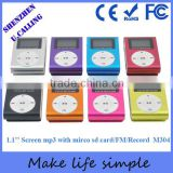 7 Years Factory Wholesale Mini Metal Clip Mp3 Player With Screen And Mirco SD Card Slots